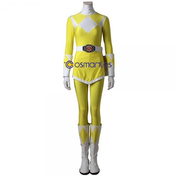 Yellow Ranger Cosplay Costumes Trini Kwan Mighty Morphin Power Rangers Suit