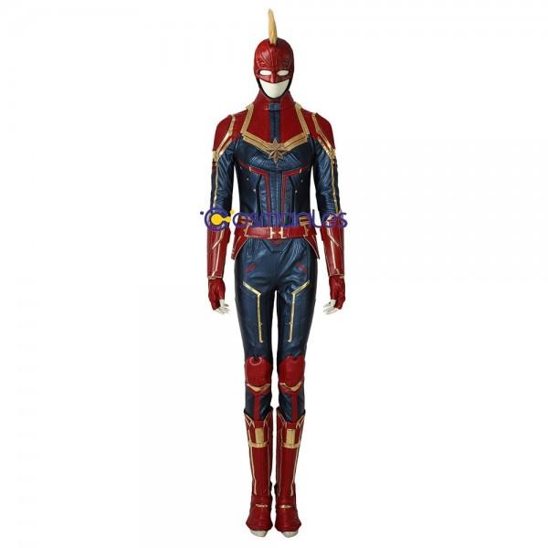 Carol Danvers Cosplay Costume Captain Marvel Artificial Leather Suit