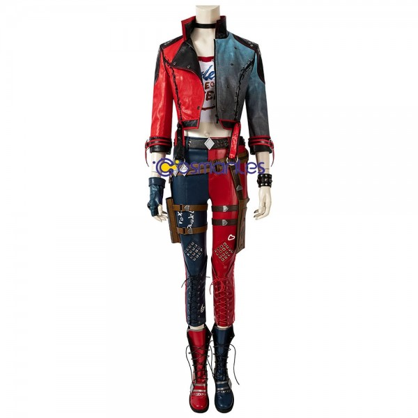 Harley Quinn Cosplay Costumes Artificial Leather Jacket Cosplay Suit