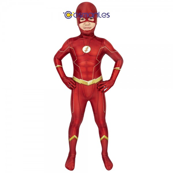 Kids Suit The Flash Cosplay Suit The Flash Spandex Printed Cosplay Costume