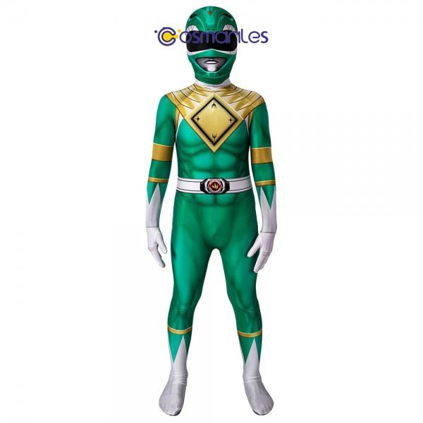 Kids Green Ranger Spandex Printed Cosplay Suit Power Rangers Cosplay Costume
