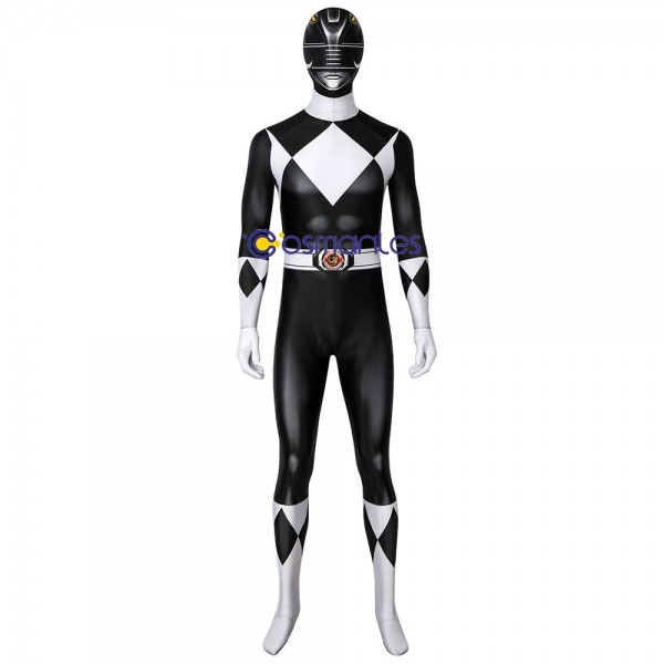 Black Power Rangers Suit Halloween Cosplay Costumes Spandex Printed Zentai Suit