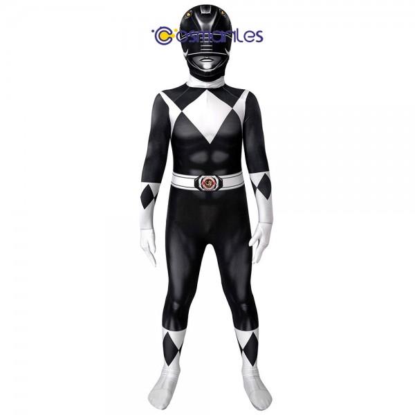 Kids Black Ranger Spandex Printed Cosplay Suit Power Rangers Cosplay Costume