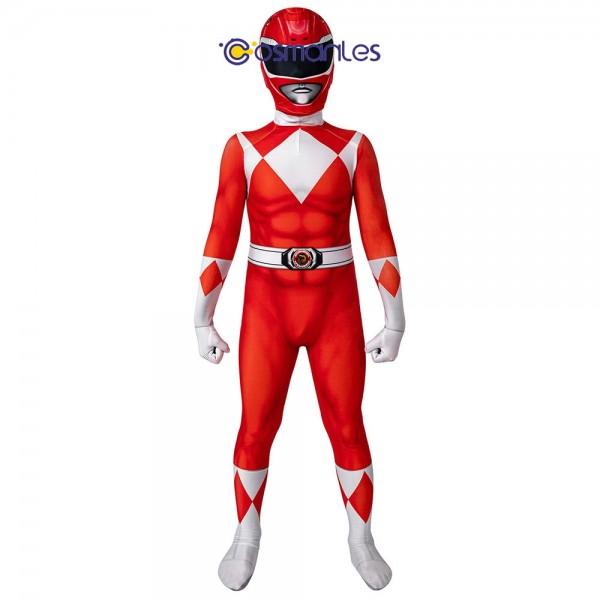 Kids Red Ranger Spandex Printed Cosplay Suit Power Rangers Cosplay Costume