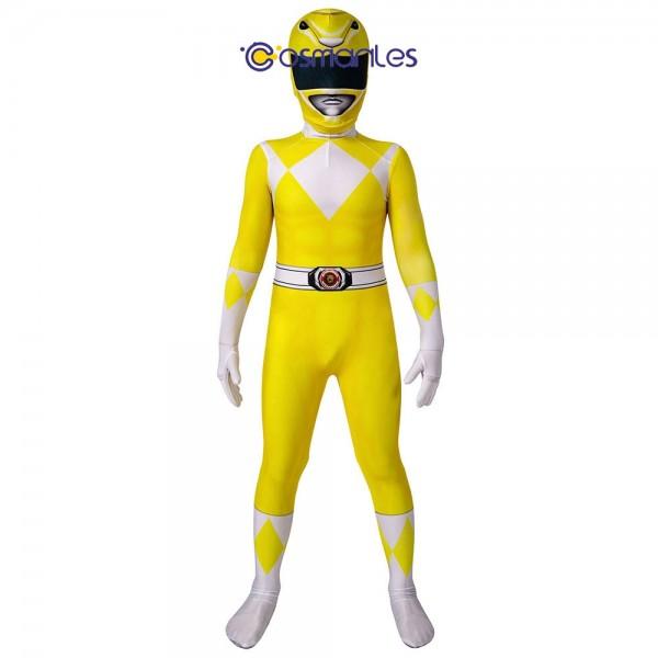 Kids Yellow Ranger Spandex Printed Cosplay Suit Power Rangers Cosplay Costume