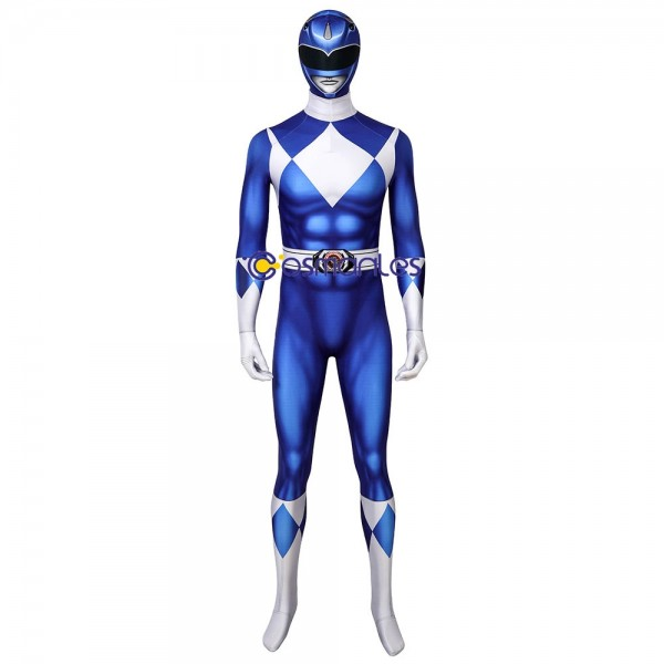 Blue Ranger Spandex Cosplay Costume Mighty Morphin Power Rangers Cosplay Suit