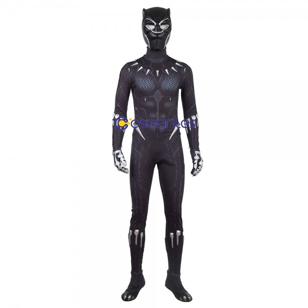 Black Panther Cosplay Costume T'Challa Black Jumpsuit Edition