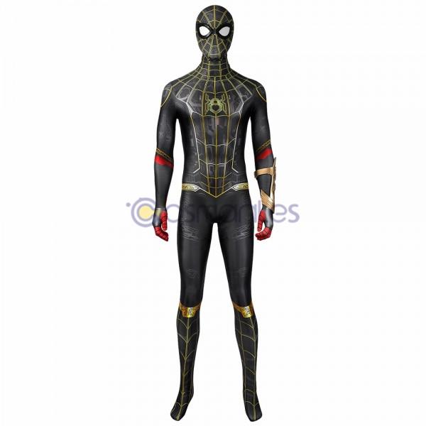 Spider-man No Way Home Spandex Printed Black Gold Cosplay Costume